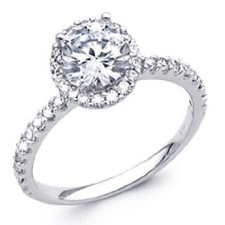 14K White Gold Round with Side Stone Top Quality Shines CZ Cubic Zirconia 1.25 CT Equivalent Ladies Wedding Engagement Ring Band The World Jewelry Center Jewelry