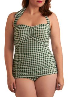 Esther Williams Bathing Beauty One Piece Swimsuit in Green Gingham   Plus Size  Mod Retro Vintage Bathing Suits