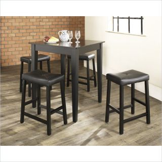 Crosley Furniture 5 Piece Pub Dining Set with Tapered Leg and Upholstered Saddle Stools in Black Finish   KD520008BK