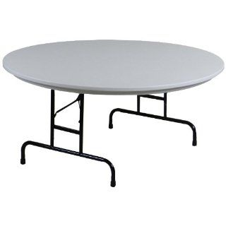 "Correll RA60 23 R Series Blow Molded Plastic Adjustable Height Commercial Duty Folding Table, Round, 60"" Diameter, Gray Granite"