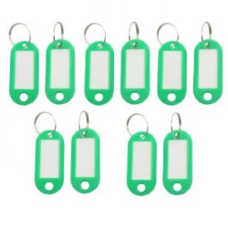 10PCS Portable Green Plastic Key Name Notes Tags ID Labels w Split Keychain Clothing