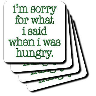 cst_171958_3 EvaDane   Funny Quotes   Im sorry for what I said when I was hungry. Lime Green. Food Lover.   Coasters   set of 4 Ceramic Tile Coasters Kitchen & Dining