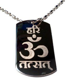 Hindu Lord Saying Hari Om TAT SAT Mantra Meditation AUM Meditate Religion Religious Logo Symbols   Military Dog Tag Luggage Tag Key Chain Metal Chain Necklace
