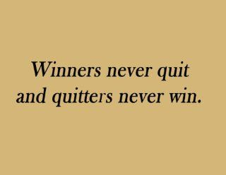 Football Wall Quote Lettering   Winners Never Quit, Vinyl Wall Art Saying   Wall Decor Stickers
