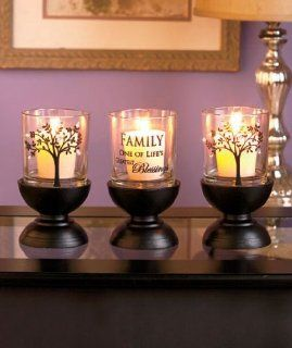 3 Piece Family Tree Candle Holder Set Insprirational Sentimental Saying Wood Glass Candleholder Decorative Home Accent Table Top Decor