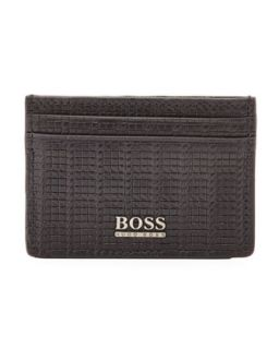 Mens Woven Leather Card Case, Black   Boss Hugo Boss   Black