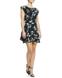 Womens Cap Sleeve Printed Dress   Halston Heritage   Bk/Lnn wht bp flr (X