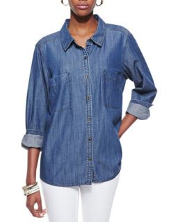 Womens Long Sleeve Chambray Shirt, Petite   Eileen Fisher   Denim (PM (10/12))