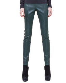 Womens Slim Stretch Napa Leather Pants   Akris   Dark green (36/6)