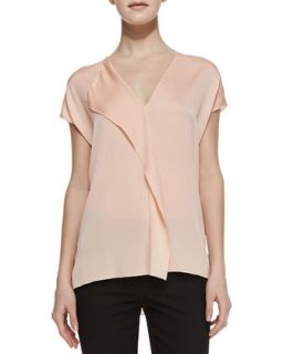 Womens Silk Cascade Cap Sleeve Blouse   Vince   Grapefruit (X SMALL)