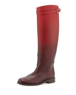 Ombre Leather Knee Boot, Wine   Valentino   Wine (39.0B/9.0B)