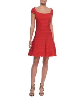 Womens Cap Sleeve Scalloped Dress, Coral Poppy   Herve Leger   Coral poppy