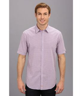 Thomas Dean & Co. Seersucker Gingham Button Down S/S Sport Shirt Mens Clothing (Purple)