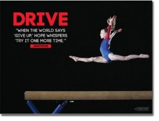 "Female Gymnastics Poster. Gymnast Inspiration & Motivation for Girl. 18"" x 24"" Laminated. Features the quote, ""When the world says 'give up, ' hope whispers 'try it one more time.' ""  Prints"