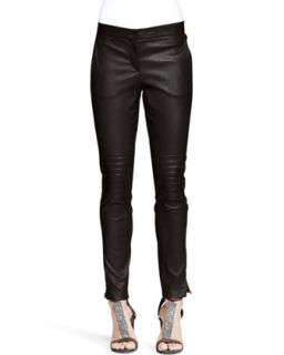 Womens Leather Knee Patch Skinny Pants   Brunello Cucinelli   Volcano (42/6)