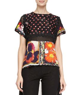 Womens Mixed Print Short Sleeve Tee, Multi   Jean Paul Gaultier   Floral
