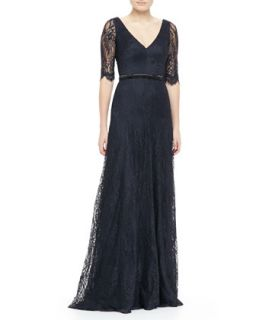 Womens Lace Elbow Sleeve Gown   Theia by Don ONeill   Midnight (6)