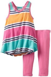 Splendid Littles Girls 2 6X Cabana Stripe Tunic Set, Caribbean, 2T Pants Clothing Sets Clothing