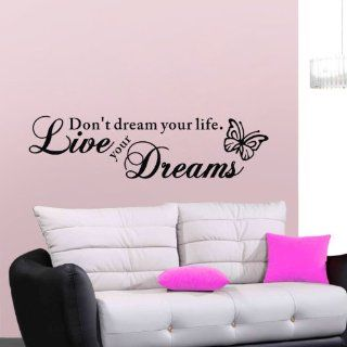 Black Butterfly with Don't Dream Your Life Live Your Dreams Quote Vinyl Home Room Decor Removable DIY Art Wallpaper Saying Lettering Wall Sticker/ Decal Mural