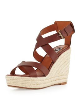 Leather Espadrille Wedge Sandal, Brown   Lanvin   Brown (11B)
