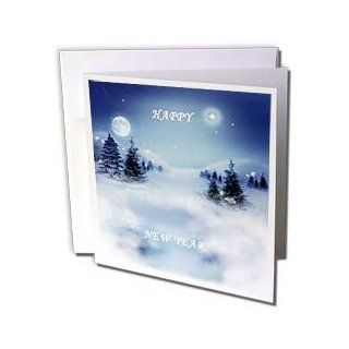 gc_80865_2 Florene Holiday Graphic   Pure White n Blue Says Happy New Year   Greeting Cards 12 Greeting Cards with envelopes  Blank Greeting Cards