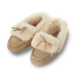 Just Sheepskin Beige suede leather wool moccasin slippers