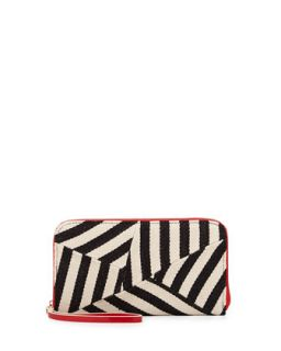 Striped Canvas Zip Wallet, Black/Red