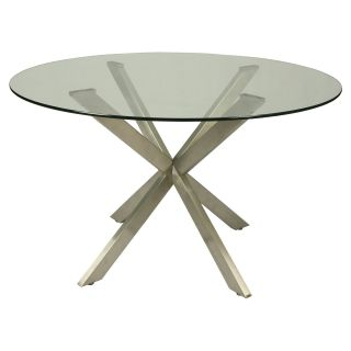 Impacterra Eritrea Glass Top Dining Table   Stainless Steel   Pub Tables & Bistro Sets