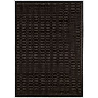 Couristan Recife Saddle Stitch Black Cocoa Indoor Outdoor Area Rug