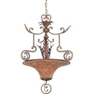 Glomar Marmount   3 Light Pendant with Art Nouveau Glass Antique Gold DISCONTINUED HD 1525