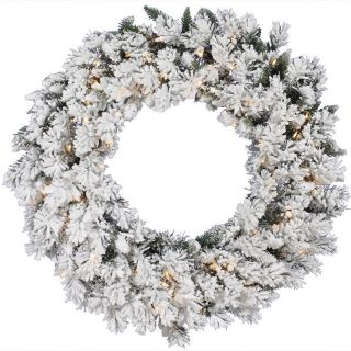 Vickerman Flocked Snow Ridge Pre Lit Wreath   Christmas Wreaths