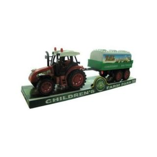 Bulk Buys OC773 12 Friction Farm Tractor Truck and Trailer Set