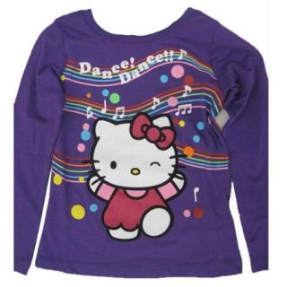 Hello Kitty Little Girls Purple Applique Musical Notes Print Shirt 5 6
