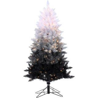ft. Pre Lit Vintage Black Ombre Spruce Christmas Tree Clear Lights