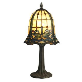 "19.5"" Amber Antique Brass Dragonfly Cabrini Mini Hand Rolled Art Glass Table Lamp"