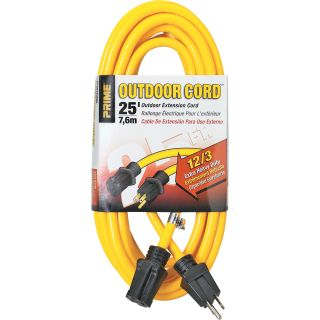 50325. Prime Wire & Cable Outdoor Extension Cord — 25ft., 15 Amps, 12/3 Gauge, Yellow, Model# EC500825