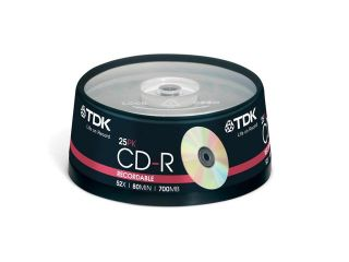 TDK CD R 80 Spindle 25 CDR recordable discs cd r 80min blank media