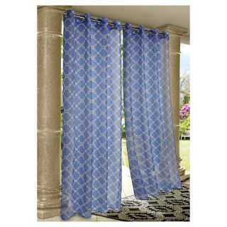 Outdoor Décor Wrought Iron Indoor/Outdoor Sheer Curtain Panel   Grey