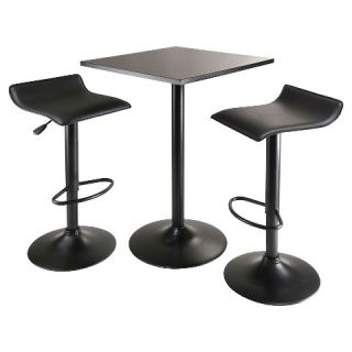 Obsidian 3 Piece Set Pub Table Counter Height with Air Lift Adjustable