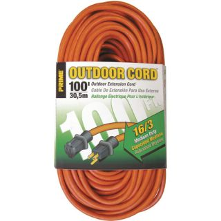 Prime Wire 100 Foot 16/3 SJTW Medium Duty Extension Cord, Orange