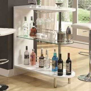 Coaster Contemporary Home Bar Table with Glass Shelf in White   101064