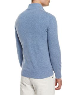 Brunello Cucinelli Cashmere Half Zip Pullover Sweater, Light Blue