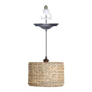 Worth Home Products 1 Light Brushed Bronze Instant Pendant Conversion Kit with Straw Shade PBN 3631 0011