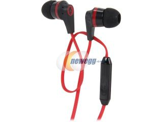 Open Box Skullcandy Black/Red S2IKDY 010 3.5mm Connector Ink'd 2.0 Earbud Headphones with Mic, Black/ Red