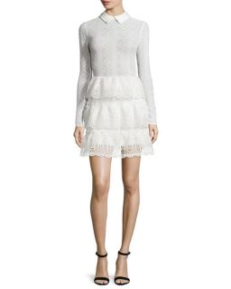 Self Portrait Long Sleeve Tiered Scalloped Lace Dress, Off White