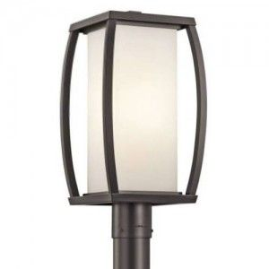 Kichler 49342AZ Outdoor Light, Transitional Post 1 Light Fixture   Architectural Bronze (Open Box Item)