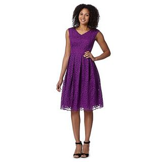 Betty Jackson.Black Designer bright purple embroidered floral dress