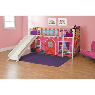 Girls' Bakeshop Twin Loft Bed with Slide, White