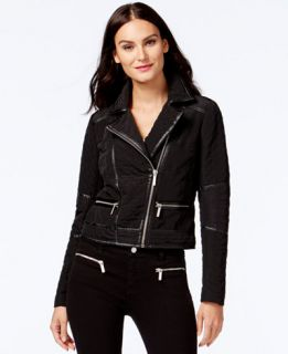 MICHAEL Michael Kors Faux Leather Trim Quilted Moto Jacket   Coats