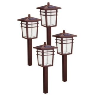 Hampton Bay Solar Square Mission LED Bronze Outdoor Pathway Light Kit (4 Pack) 49603 300MG